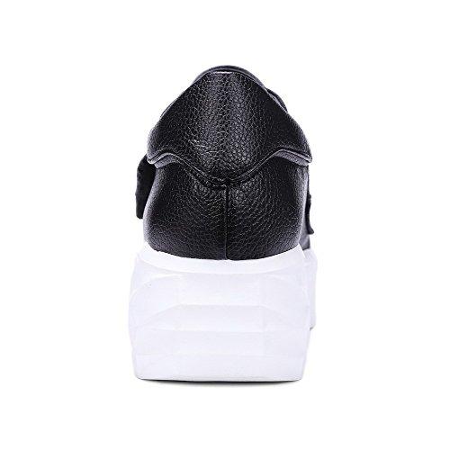 VogueZone009 Femme Pu Cuir à Talon Correct Rond Couleur Unie Velcro Chaussures Légeres Noir