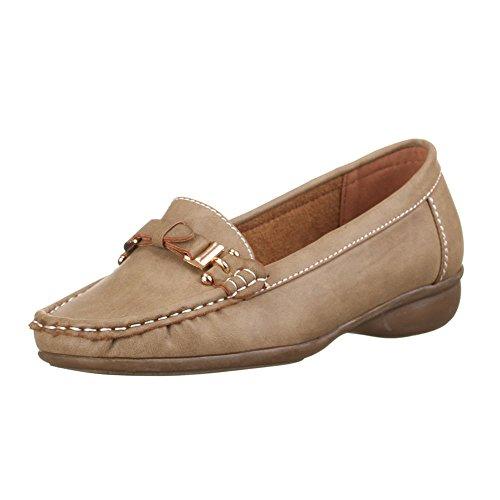 Damen Schuhe, 6802, LEDEROPTIK HALBSCHUHE MOKASSINS Braun