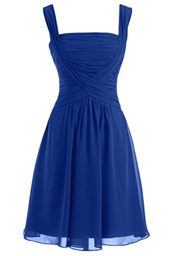 Sunvary Robe de Demoiselle d'Honneur Robe de Cocktail Courte Plisse Bretelle Couvrantes Bleu roi