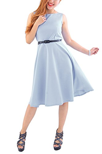 YMING Damen Kleid Große Größe Cocktailkleid Einfärig Retro Kleid Einfärig Ärmellos Sommerkleid,Grau,XXXL/DE 46-48