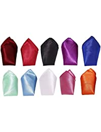 Michelangelo Multicolor Pocket Satin Pocket Square Combo of TEN (Colors as in the picture))
