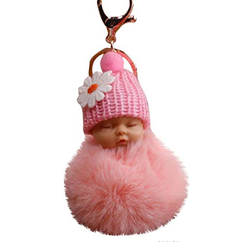 Steel Mann Kostüm Of Baby - Bobopai 8cm Pompom Cute Fur Fluffy Sleeping Baby Doll Key Chains Keyrings Bags Charm Pendant Pink