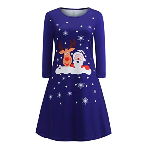 URIBAKY Frauen Weihnachts Drucken Kleid Damen Langarm Weihnachtsabend Xmas Partykleid Minikleid-Christmas Schwingen Kleid