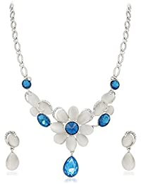 Vk Jewels Wedding Collection Silver Brass Alloy Necklace Set For Women Vknks1294R