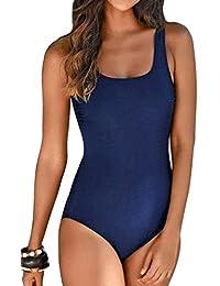 Aleumdr Badeanzug Damen Push up Bademode Schwimmanzug Bauchweg Farbverlauf  Figurformenden Effekten Rückenfrei Bandeau ... 0cee1435f5