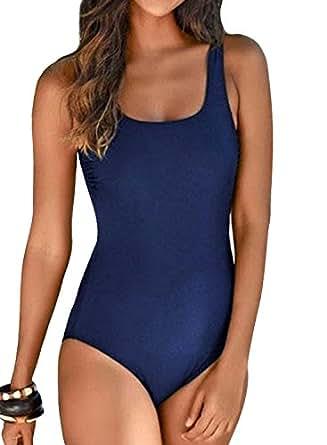 Aleumdr Costume Intero Donna Tie-Dye Costumi Interi da Bagno Donna Senza Schienale - Blu Scuro - S