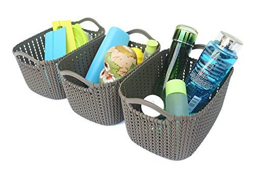 SKYFUN (LABEL) Weaving Rattan Plastic Storage Baskets Bins Shelf Organizer with Handles Oval Shape,Multi Color