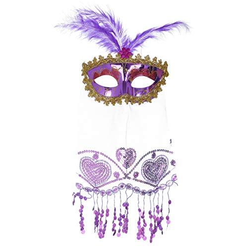Kostüm Erwachsene Pfau Größe Für Deluxe - Yue668 Rose Brilliant Masquerade Mask für Damen Oriental Fluffy Feather Venezianische Maske Schleier (A)