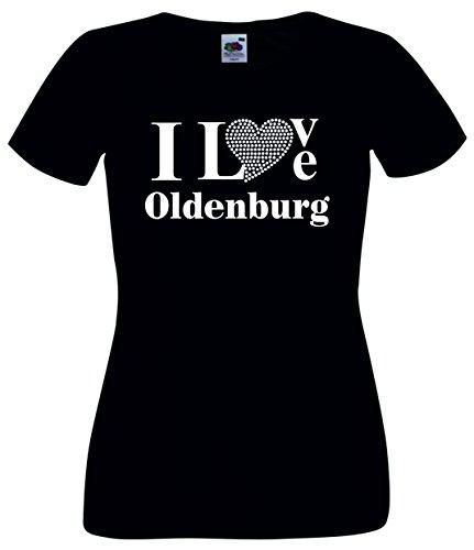 T-Shirt I Love Oldenburg mit einer Strassaplikation / Strassherz Schwarz