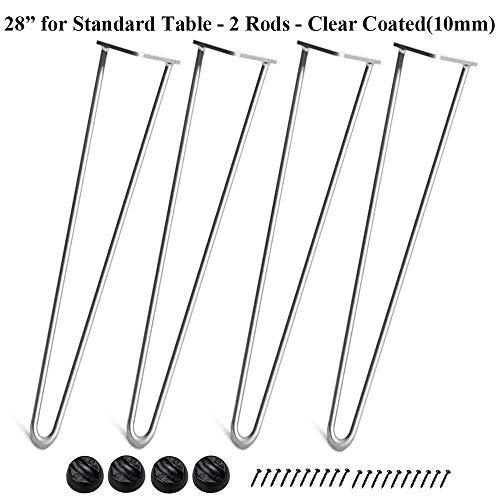 Yesjoy Set mit 4 robusten Haarnadel-Beinen, 0,9 cm massives Metallstange, zwei Stangen aus Stahl, Industrie-Modernes Mitteljahrs-Design, für Heimwerker, Kaffee-TV-Ständer, Sofa Beistelltisch (Tv-ständer Set Und Beistelltisch)