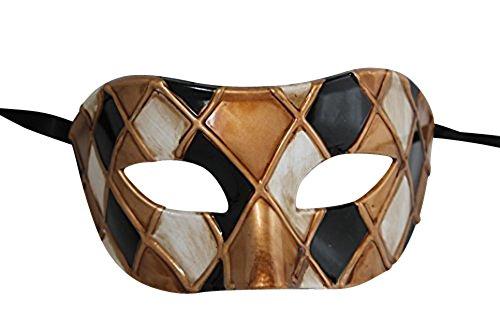 Antik Gold/Elfenbein Venezianische Maskerade Karneval Partei Augenmaske Maske (Harlekin-maske)