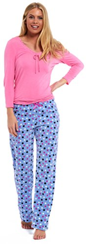 ex-marks-and-spencer-ladies-pyjamas-pink-with-lilac-polka-rest-relax-sleep-ms-viscose-and-fleece-sum