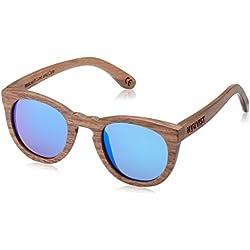 HÄRVIST, Roundwood - Gafas de sol de madera, unisex, color nogal / azul, talla Talla única