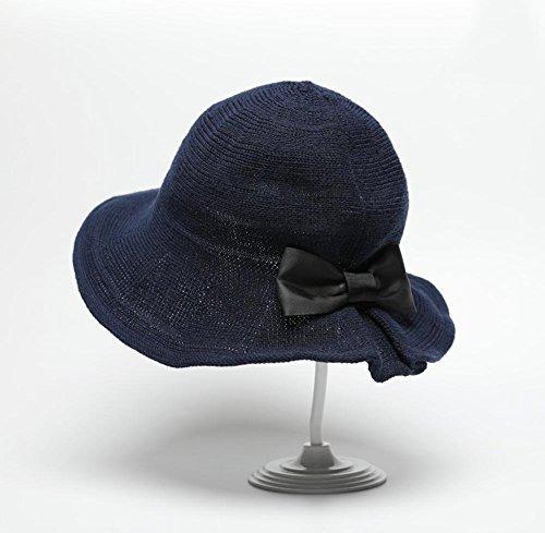 HIAO Strickmützen Frauen Sommer Schmetterling Knoten Becken Kappe Sun Sonnencreme Anti-UV-Fischer Hut Falten