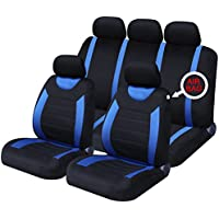 XtremeAuto xa5292djw - Juego completo de fundas de asiento de coche, incluye pegatina, color azul y negro