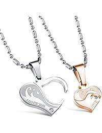 """COPAUL Parejas de acero inoxidable de la CZ del Diamante de imitación de """"Te amo""""Corazón colgante collar de"""