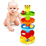 Peradix Swirl Ball Ramp Educational Toy Puzzle Rolling Ball Bell Stacker for Kids
