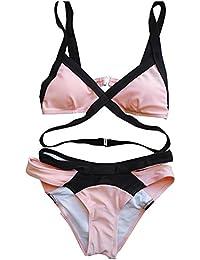 Femmes Maillots De Bain, OverDose Sexy Bikini Liens Sur Le Devant Push-Up Padded Bra Swimwear (XS, Rouge)