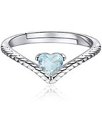 837f3975c724 ChicSilver Plata de Ley 925 Chapado en Platino Oro Anillo Trenzado  Ajustable Corazón con Piedras