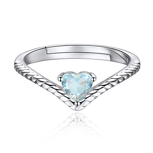 12 Monate Geburtstagsserie Mär Aquamarin, Damen Designer Ring Verlobungsring mit Herz Kristall 925 echt Silber