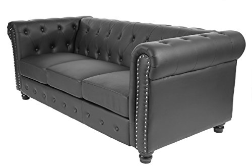 Luxus 3er Sofa Loungesofa Couch Chesterfield Kunstleder ~ runde Füße, schwarz - 3