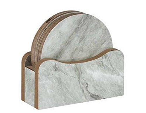 Set von 6Rund Marmor Effekt Tisch Schutz Untersetzer aus Holz Untersetzer und Halter - Runde Pub Höhe Tisch