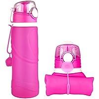M.Baxter Silicone Acqua Bottiglia Pieghevole 750ml priva di BPA Borraccia bottiglia a perfetta tenuta per lo sport attività all'aperto viaggio campeggio