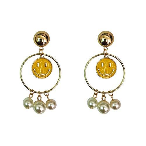 Qingerda Smiley Ohrringe Frauen Lange Anhänger Kreis Fringe Perle Große Ohrringe