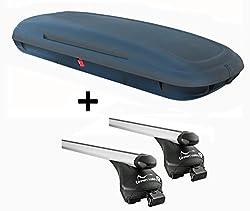 VDP-CA480 Dachbox 480 Liter Carbon Look abschließbar + Relingträger Quick Alu kompatibel mit VW Touran ab 2015 Reling