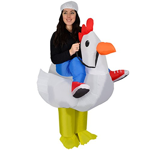 Gonfiabile pollo Farm Animal Fat fantasia Blow Up vestire divertente divertente Costume Suit adulti Cute Halloween Party novità Carnevale
