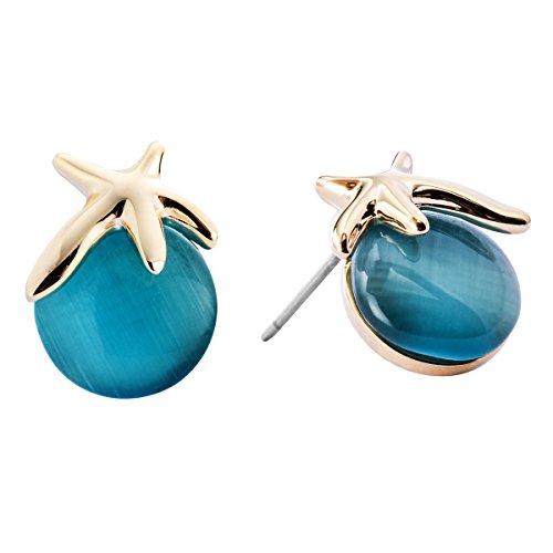 Damen Ohrringe Seestern Ohrstecker Gold mit Blau Opal Mädchen CHANGEABLE
