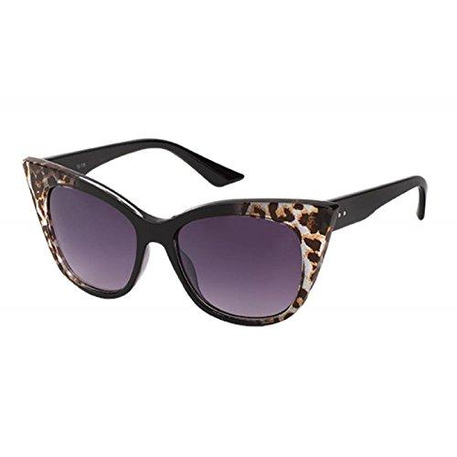 Sonnenbrille spitze Cateye Form 400 UV Leo Print getönt Damenbrille schwarz