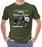 Herren T-Shirt - Retro Bike - T120 Motorcycle Oliv-Weiss XL