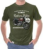 Herren T-Shirt - Retro Bike - T120 Motorcycle Oliv-Weiss XL