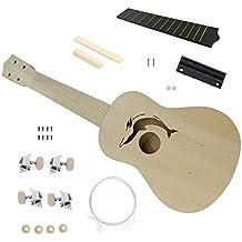21 Inch DIY Ukulele Kit Basswood Body Plastic Fingerboard Small Guitar DIY Handmade Assembly Ukulele Musical