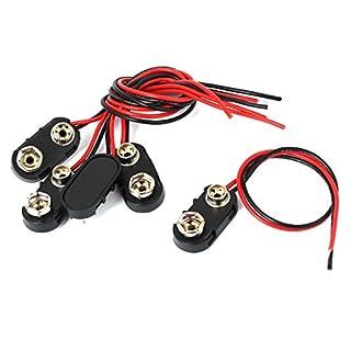 Aexit 5er Packung 9V Batterieklammer I-typ Steckverbinder Zelle Halter Schnalle Kabelleitungen 15cm 6F22