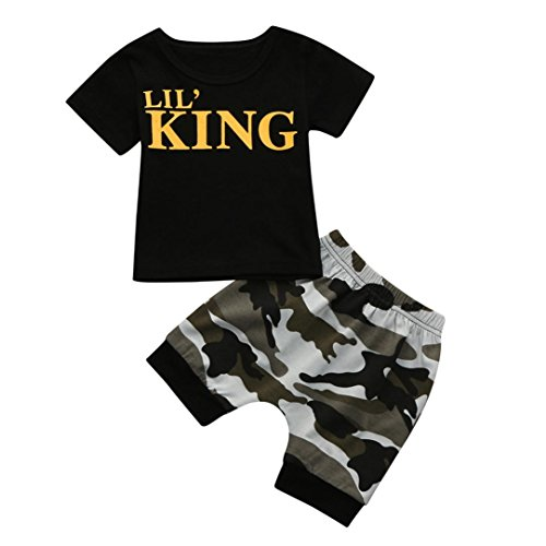 2-3T Webla Toddler Baby Boys Kids Letter Lil King T Shirt Tops+Camouflage Shorts Outfits Clothes Set Ages 0-4 Years