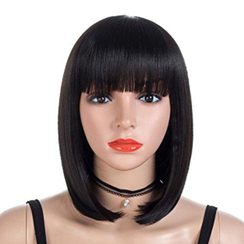 YUNWEI Fluffy-Perücke, kurz, glattes Haar, weiblich, gewölbt, realistisch, Perücke aus chemischen Fasern, hohe Temperatur, Kunstseide, Party, Urlaub, Performance, 35 cm x 190 g