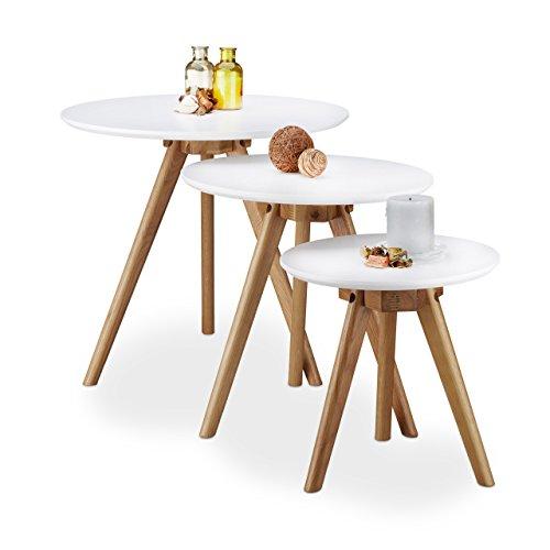 Relaxdays Table d'appoint Bois de chêne laqué Lot de 3 Table Basse 50, 40 et 32 cm Bout de canapé Console Plateau Blanc Design Nordique, Blanc Nature