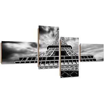 Tableau Multi Panneaux Noir ET Blanc Feeby Paris 4 Parties Deco Panel 100x50 cm Tour Eiffel Image imprim/ée Type Z ARCHITEKTURE D/écoration Murale
