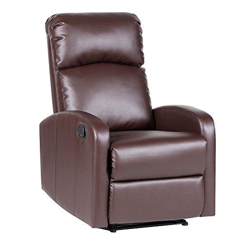Relaxsessel Fernsehsessel Ruhesessel mit verstellbarer Beinablage und Liege-Funktion – Kunstleder Farbwahl (Braun)