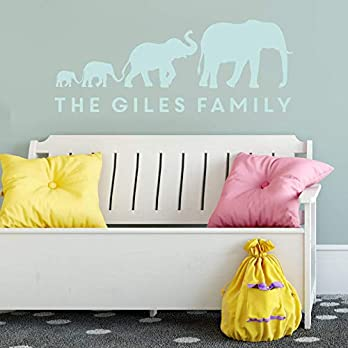 Personalised Elephant Family Wall Sticker