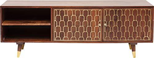 Kare 83365 TV - Board Muskat, Kleines, Schmales Sideboard mit 2 Türen und 2 Fächern, braun mit Goldenen Akzenten an der Schrank Front, (H/B/T) 50x140x35 cm