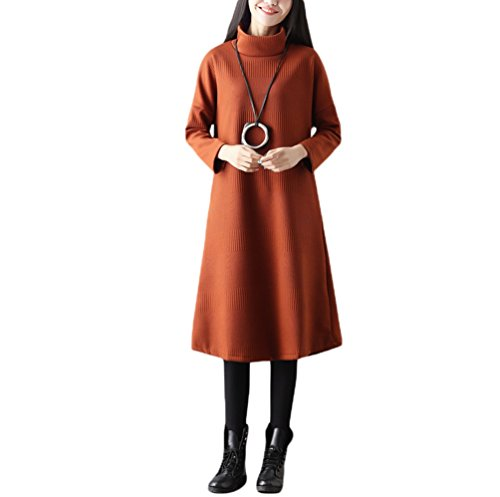 NiSeng Femme Pull Casual Robe Pull Rétro Longue Col Haut Loose Épaississement de couleur Solide Chaud Robe Jaune