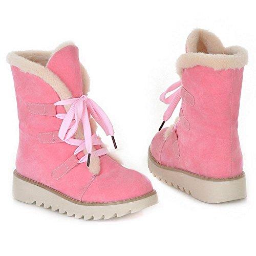 RAZAMAZA Femmes Hiver chaudes Bottines Chaussures de ville a lacets pink