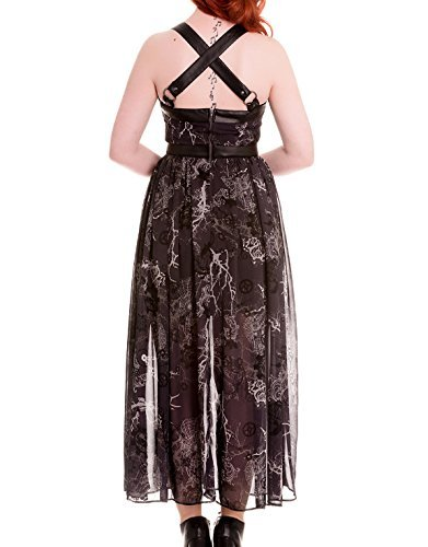 HELL BUNNY Spin Doctor Goth Maxi Dress ALTAIRA Buckle Grunge M 12