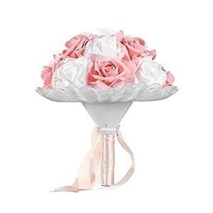 camelliaES Boda romántica Novia Ramo Artificial Rosa Mano Ramo Estilo Coreano Simulación Sostener Flor Suministros de…