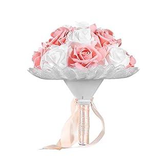 camelliaES Boda romántica Novia Ramo Artificial Rosa Mano Ramo Estilo Coreano Simulación Sostener Flor Suministros de Boda (Color champán)