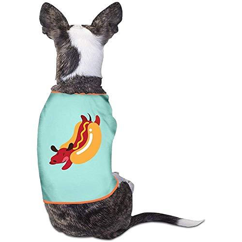 Lustige Walking Kostüm Dog - Frederih Hot Dog Lustige Muster Schönen Hund Katze Hemd Kostüm Haustier Sport Kleidung Pullover Welpen Warme T-Shirt Outfit Tops M (Brust 44 cm, länge 30 cm)
