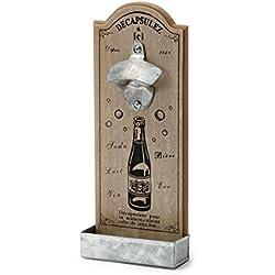 Pajoma 15351 abridor de botellas de madera con un peso de bandeja DECAP, beige/marrón